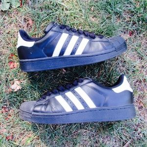 ADIDAS Shell Toe Superstar Black White Lace Shoes